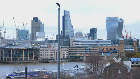 London skyscrapers at financial district Live Action