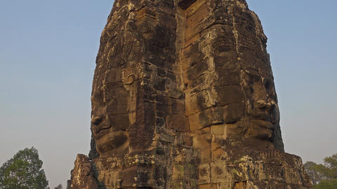 Giant stone faces at Bayon Temple, Cambodia Footage