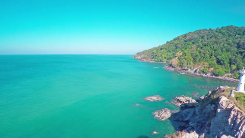 Flying over the lighthouse on Koh Lanta island Footage