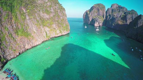 Aerial view on Maya bay, Phi Phi Leh island Footage