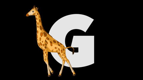 Letter G and Giraffe (foreground) Animation