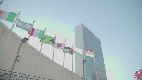 Many flags and the UN building NYC Footage