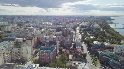 Panoramic view of the city of Perm, Russia, From Dron Footage