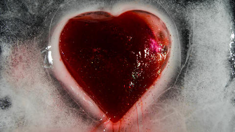 Red heart in ice melting bleeding 00150 Photo