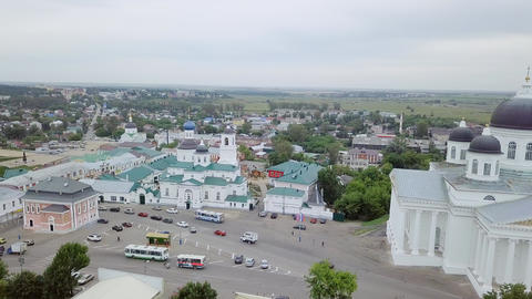 View of the Resurrection Cathedral from above. Arzamas, Russia, From Dron Footage