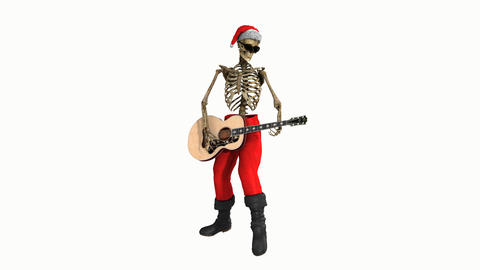 skeleton in a santa costume playing the guitar,loop, animation, Alpha channel Animation