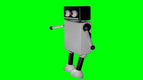Walking robot on isolated background. 3D rendering Footage