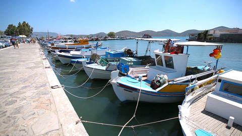 Greece. Beautiful sea coast. Ships and boats in the harbor Footage