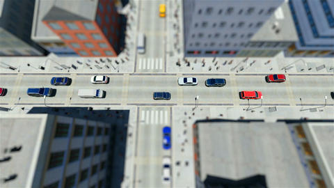 Tilt shift of walking people and traffic in the city Footage