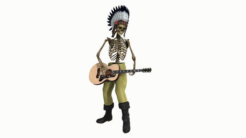 skeleton dressed as an Indian, playing the guitar,loop, animation, Alpha channe Animation