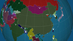 Zoom-in on China outlined. Administrative Animation