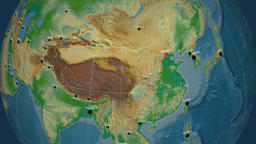 Zoom-in on China outlined. Physical Animation