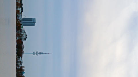 Vertical video. Quay Hamburg. Night fell. Time Lapse Footage
