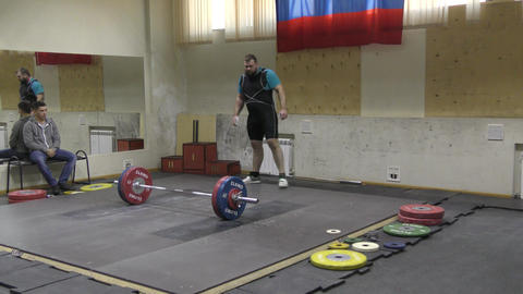 Orenburg, Russia - December 15-17, 2017 year: Boys compete in weightlifting 영상물