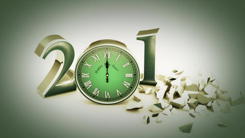 New Year 2018. Christmas. Green figures and clock,... Stock Video Footage