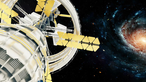 Space station flies around the Galaxy. Beautiful detailed animation Animation