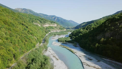 The Teberda River in the Caucasus Mountains. Along it is the Military-Sukhum Footage