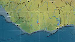 Zoom-in on Cote Divoire outlined. Topographic Animation