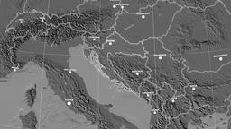 Zoom-in on Croatia outlined. Grayscale contrasted Animation