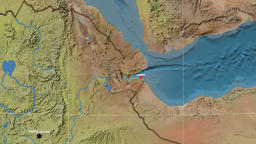 Zoom-in on Djibouti outlined. Topographic Animation
