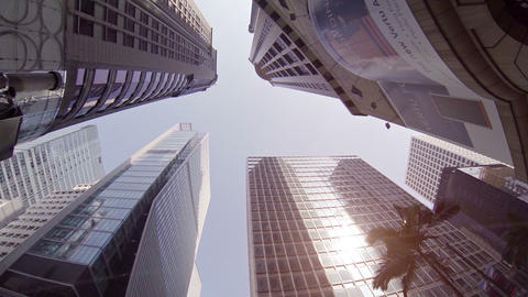 High skyscrapers. Bottom view with rotation. Hong Kong Footage