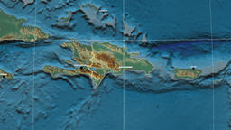 Zoom-in on Dominican Republic outlined. Relief Animation