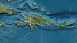 Zoom-in on Dominican Republic outlined. Satellite Animation