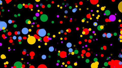 Cheerful multicolored confetti flying on black background. Abstract video Animation