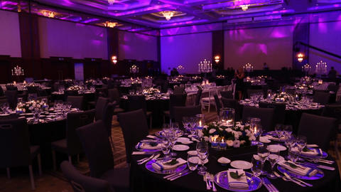 a wonderfully designed wedding room and dining tables Footage