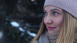 Close-up. Beautiful happy girl in the woods outdoors Footage