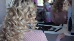 Portrait. Beautiful sexy model girl shows off her hairstyle in a beauty salon Footage