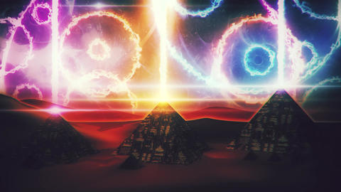 Stargates Open at Giza Pyramids Loopable Motion Background Image