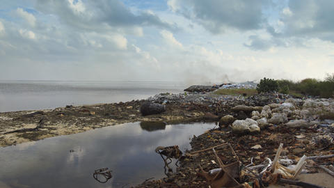 Landfill Trash Fire on Maafushi Island. Maldives Footage