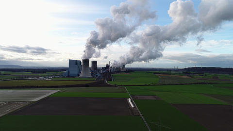 Coal power station - aerial view Stock Video Footage