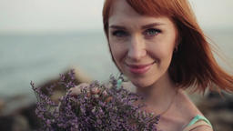 Portrait. Slow motion. Beautiful sexy girl with a beautiful smile on the sea Footage