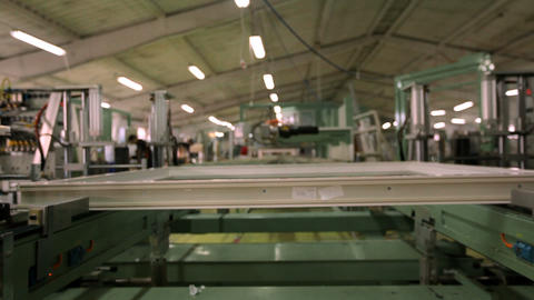 Line production of plastic windows. working machine for the manufacture of Footage