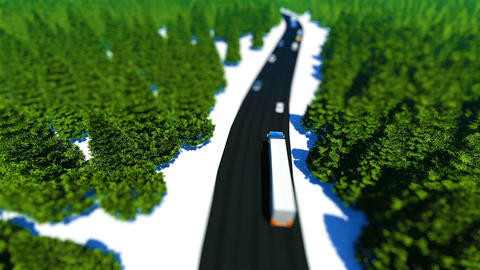 Tilt shift truck traffic in the forest road Footage