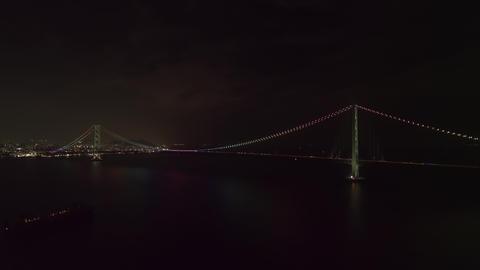 Aerial - Full view of the Akashi Kaikyo Bridge at night Zoom in ライブ動画