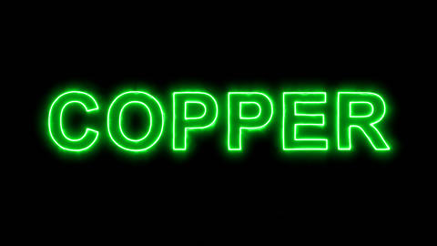 Neon flickering green Element of periodic table COPPER in the haze. Alpha Animation