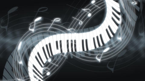 Piano twisting through musical notes Footage