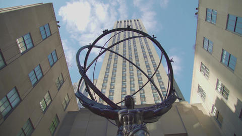 New York City Rockfeller Center - Atlas Statue USA Footage