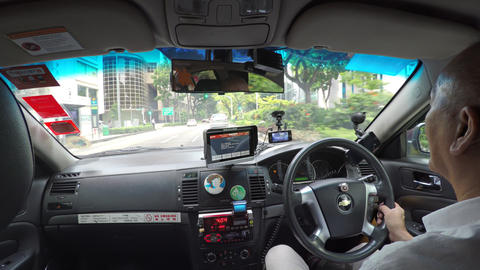 Passenger perspective of a taxi ride in Singapore Live Action