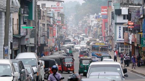 Typical Heavy Traffic on an Urban Street in Kandy. Sri Lanka Footage