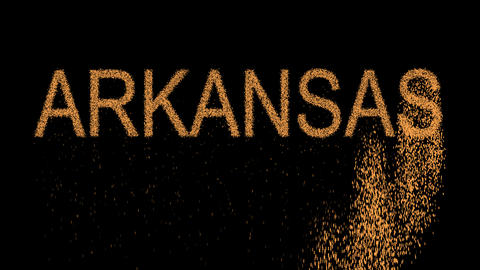 State Name ARKANSAS appears from the sand, then crumbles. Alpha channel Animation