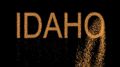 State Name IDAHO appears from the sand, then crumbles. Alpha channel Animation