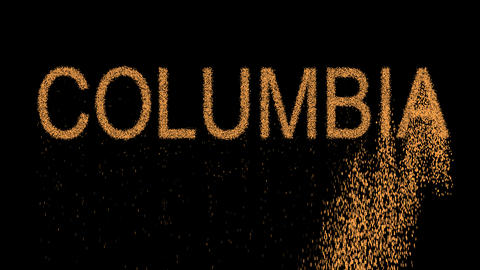 State Name COLUMBIA appears from the sand, then crumbles. Alpha channel Animation