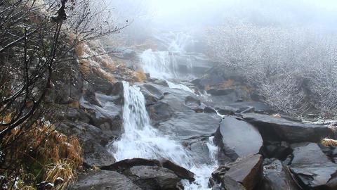 Hoverlyanski cascade waterfall in October Footage