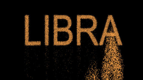 constellation of a LIBRA appears from the sand, then crumbles. Alpha channel Animation