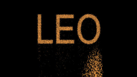 constellation of a LEO appears from the sand, then crumbles. Alpha channel Animation