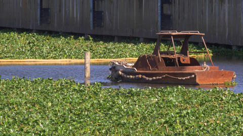 Old Rusty Boat Abandoned stock footage